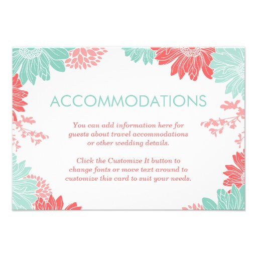Mint and Coral Modern Floral Wedding Insert Card