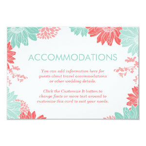 Mint and Coral Modern Floral Wedding Insert Card 3.5