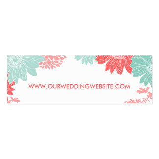 Mint and Coral Modern Floral Wedding Insert Card Mini Business Card