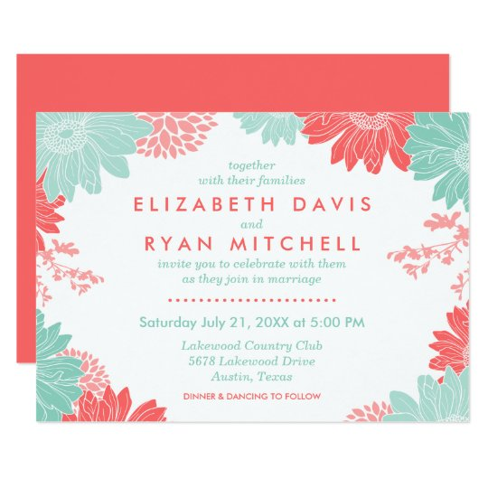 Coral And White Wedding Invitations: Mint And Coral Modern Floral Wedding Invitation