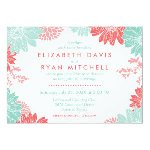 Mint and Coral Modern Floral Wedding Invitation 5