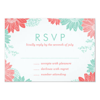 """Mint and Coral Modern Floral Wedding RSVP Card 3.5"""" X 5"""" Invitation Card"""