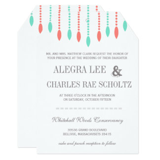 Mint and Coral Modern Tear Drop Beaded Invitation