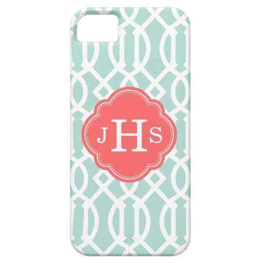 Mint and Coral Modern Trellis Custom Monogram iPhone SE/5/5s Case