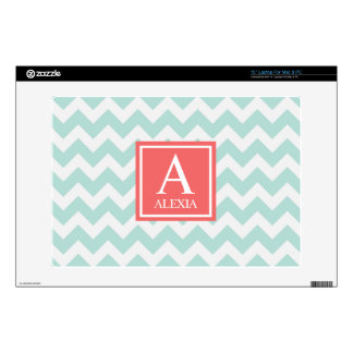 Mint and Coral Monogram Chevron Print Decal For Laptop