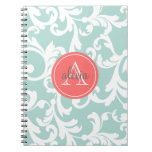 Mint and Coral Monogrammed Damask Print Note Book