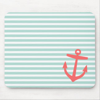 Mint and Coral Nautical Stripes and Cute Anchor Mouse Pad