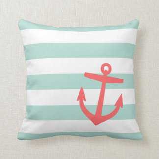 Mint and Coral Nautical Stripes and Cute Anchor Throw Pillow