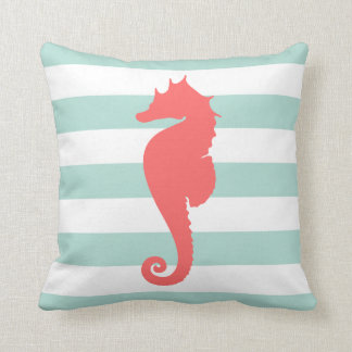 Mint and Coral Nautical Stripes and Cute Seahorse Throw Pillows