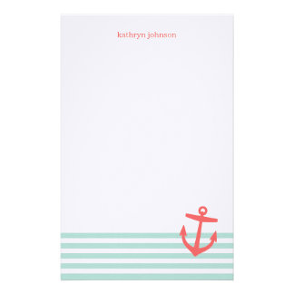 Mint and Coral Nautical Stripes Cute Anchor Stationery
