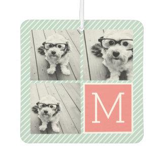 Mint and Coral Photo Collage Custom Monogram Air Freshener