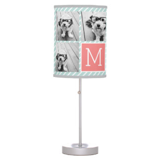 Mint and Coral Photo Collage Custom Monogram Desk Lamp
