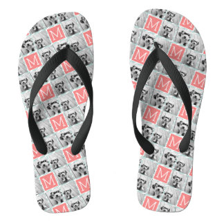 Mint and Coral Photo Collage Custom Monogram Flip Flops