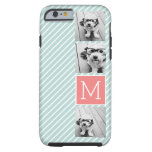 Mint and Coral Photo Collage Custom Monogram iPhone 6 Case