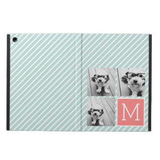 Mint and Coral Photo Collage Custom Monogram iPad Air Case