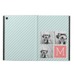 Mint and Coral Photo Collage Custom Monogram iPad Air Cover