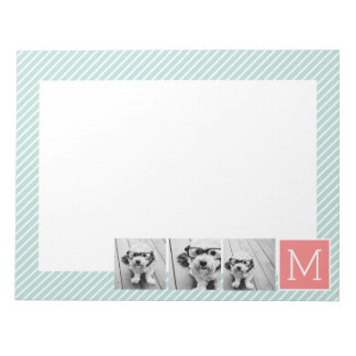 Mint and Coral Photo Collage Custom Monogram Notepad