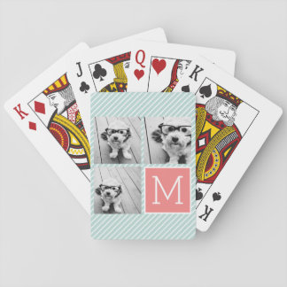 Mint and Coral Photo Collage Custom Monogram Poker Cards
