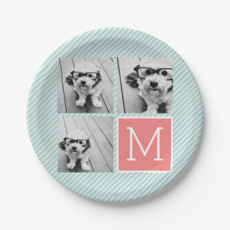 Mint and Coral Photo Collage Custom Monogram 7 Inch Paper Plate