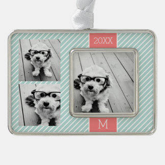 Mint and Coral Photo Collage Custom Monogram Silver Plated Framed Ornament