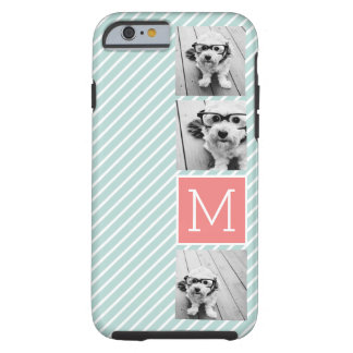 Mint and Coral Photo Collage Custom Monogram Tough iPhone 6 Case