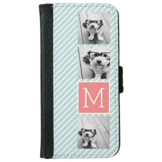 Mint and Coral Photo Collage Custom Monogram Wallet Phone Case For iPhone 6/6s