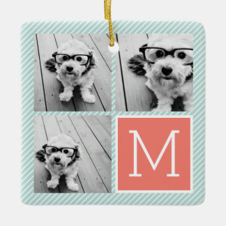 Mint and Coral Photo Collage with Custom Monogram Ceramic Ornament