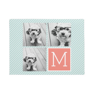 Mint and Coral Photo Collage with Custom Monogram Doormat