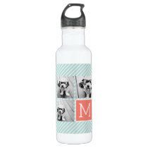 Mint and Coral Photo Collage with Custom Monogram Water Bottle