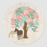 Mint and Coral Pink Spring Horses Stickers