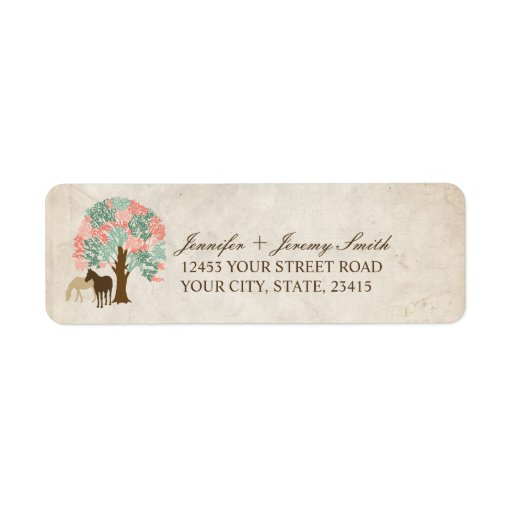 Mint and Coral Pink Spring Horses Wedding Return Address Label