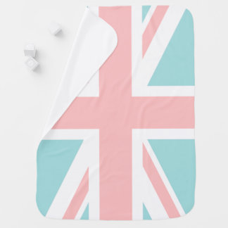Mint and Coral Pink Union Jack Flag Baby Blanket