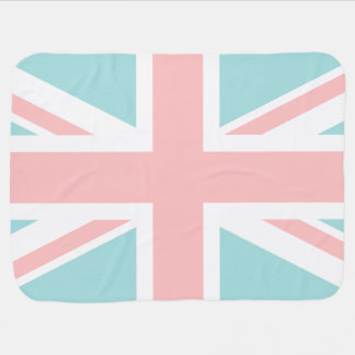 Mint and Coral Pink Union Jack Flag Receiving Blanket