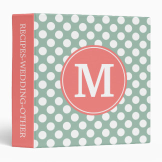 Mint and Coral Polka Dots with Custom Monogram 3 Ring Binder