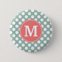 Mint and Coral Polka Dots with Custom Monogram Button