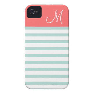 Mint and Coral Preppy Stripes Custom Monogram Case-Mate iPhone 4 Case