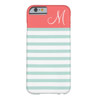 Mint and Coral Preppy Stripes Custom Monogram Barely There iPhone 6 Case