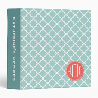 Mint and Coral Quatrefoil with Custom Monogram 3 Ring Binder