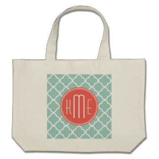 Mint and Coral Quatrefoil with Custom Monogram Tote Bags