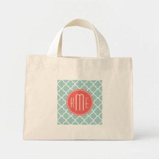 Mint and Coral Quatrefoil with Custom Monogram Tote Bag