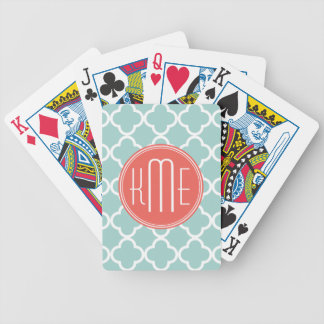Mint and Coral Quatrefoil with Custom Monogram Bicycle Playing Cards