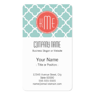 Mint and Coral Quatrefoil with Custom Monogram Business Cards