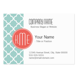 Mint and Coral Quatrefoil with Custom Monogram Business Card Template