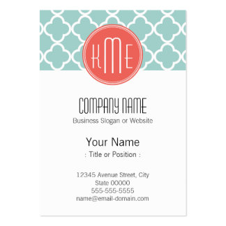 Mint and Coral Quatrefoil with Custom Monogram Large Business Cards (Pack Of 100)