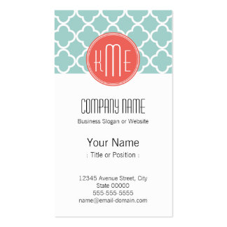 Mint and Coral Quatrefoil with Custom Monogram Business Card Templates