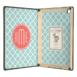 Mint and Coral Quatrefoil with Custom Monogram iPad Air Covers