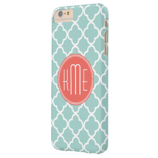 Mint and Coral Quatrefoil with Custom Monogram Barely There iPhone 6 Plus Case