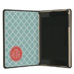 Mint and Coral Quatrefoil with Custom Monogram iPad Mini Retina Cases