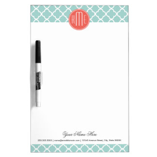 Mint and Coral Quatrefoil with Custom Monogram Dry-Erase Board