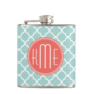 Mint and Coral Quatrefoil with Custom Monogram Flask